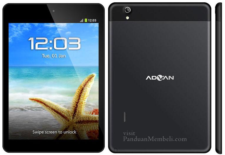 Spesifikasi Advan T5C 8 1024 X 768 IPS Display Android Jelly Bean HSPA TV Quad Core 13 GHz Processor 1 GB RAM Internal Storage MicroSD Slot
