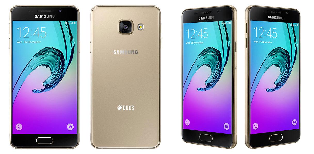 Samsung-Galaxy-A3-2016-gold foto depan belakang samping