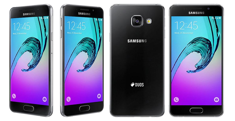 Samsung-Galaxy-A3-2016 hitam depan belakang samping